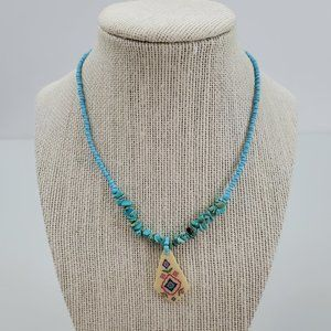 Faux Turquoise Beaded Necklace Ceramic Tribal Flor